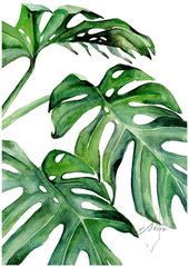 Tropical Leaves Set, Banana Leaf, Set of three Wall Artwork, Set of three prints tropical, Set of three watercolor, Watercolor Print Set, Botanical Prints