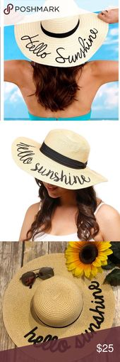 Hello Sunshine Straw Floppy Sun Hat A ladies sun hat are the perfect beach acces… – My Posh Picks