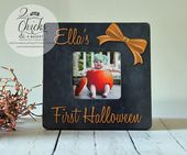 Babys First Halloween Picture Frame, Personalized Halloween Picture Frame, Rustic Frame, My First Halloween Frame, Halloween Gift Idea – Halloween Crafts