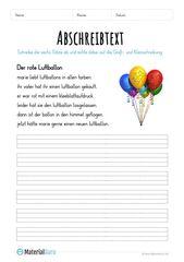 Arbeitsblatt: Text abschreiben – Der rote Luftball…