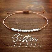 Sister Morse Code Bracelet – Friendship Bracelet – Bracelets for Women – Morse Code Jewelry …