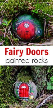 Lerne, wie man aus einem bemalten Stein eine feenhafte Tür macht! Verstecken Sie die Feenfels