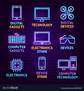 Technology Gadgets Neon Label Set. Vector Illustration of Electronics Promotion. Download a Free Preview or High Quality Adobe Illustrator Ai, EPS, PD…
