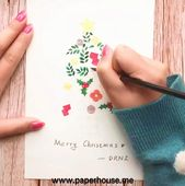 """Watercolor Christmas Tree👉www.paperhouse.me💝Get $3 with code """"PIN3""""💝Paperhouse Stationery"""
