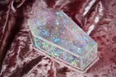 Opalescent Holographic Iridescent Coffin Resin Jewelry Storage Box, Vanity Jewelry Organizer, Faux Opal Resin Crystal Quartz