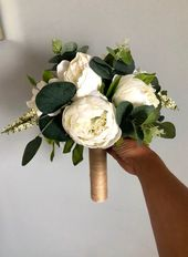 Passen Sie Ihr Paket, weiße Pfingstrose Bouquet, weiße Pfingstrose Brautjungfer Bouquet, Seide Pfingstrose Bouquet, weiße Pfingstrose Bouquet, Eukalyptus Bouquet, Bo   – One Day…