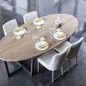 table à manger ovale en chêne et pied métal dilla zenna | maison