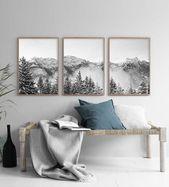 Moderne Bergkunst Set von 3 Drucke Berg Poster Kunst schwarz weiß Berg Monochrome druckbare Wandkunst über Bett Kunst moderne nordische Print