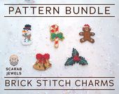 Christmas Set #1 – Brick Sew Charms | Snowman Sweet Cane Bells Holly Gingerbread Man | Peyote – 5 beading patterns | PDF Immediate Obtain