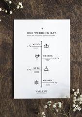 Großes editierbares Hochzeitsprogramm – rustikale minimalistische Hochzeit – DIY Hochzeitsprogramm   – New Today
