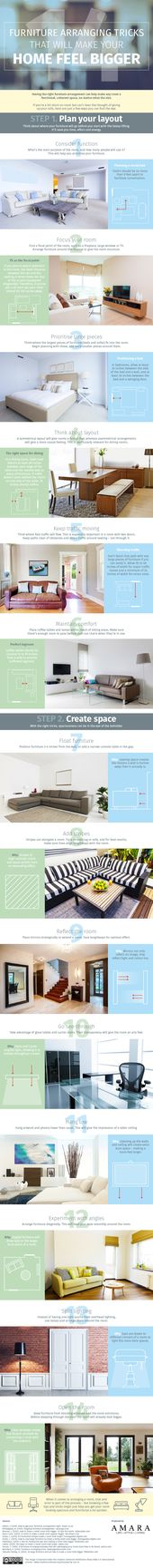 14 Furniture Arranging Tricks that Will Make your Home Feel Bigger #infographic   – Home decoration