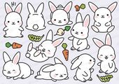 Invitations  Premium Vector Clipart Kawaii Bunny Cute Bunny Clipart Set | Etsy