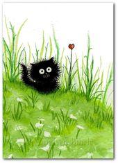 Fuzzy Black Kitty Cat Flower Heart ArT – Láminas por Bihrle ck249   – Art