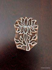 Hand Carved Indian Wood Textile Stamping Block – Lotus (REDUCED) – Type: Print …   – Soap Diy