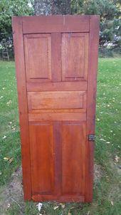 Old Wood Door Antique Cupboard Door Architectural Salvaged 5 Panel Arts Crafts Panel Door Solid Wood P Old Wood Doors Cupboard Doors Old Door Projects
