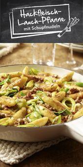 Carne picada y puerro con fideos de papa   – Mittagessen