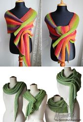 Free Knitting Pattern for Pfeilraupe Shawl – This versatile garter stitch wrap c…