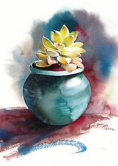 Succulent print, Succulent watercolor, Succulent art, Botanical print – giclee print of an original watercolor (5 x 7 in)