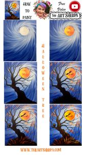 How to Paint a Halloween Tree Holding a Moon for Beginners