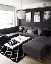 ✔55 black living room decor with minimalist design 18