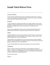 Talent Release Form Preview Words Release Sample Resume