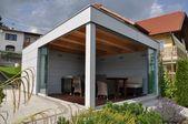 Offenes Poolhaus mit Glasschiebetüren Sunflex Schiebewand   – Schmidinger Projekte – Wintergarten, Verglasungen, Fenster & Türen