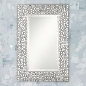 Savla Textured Relief Silver 24″ x 36″ Wall Mirror – #T9616 | Lamps Plus