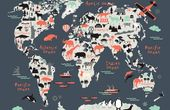 Grey World Map Wallpaper | MuralsWallpaper
