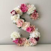 Blumen Brief, Floral Initial, Kinderzimmer Brief, Blumen Brief, Kinderzimmer Wandkunst, Baby Geschenk, Shabby Chic, Boho Chic Kinderzimmer Dekor, Kinderzimmer Kunst