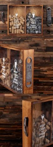 """""""Keep Calm"""" Wine Cork Holder & Beer Cap Holder Shadow Box   Personalized Gifts and Party Favors"""