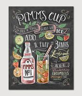 Pimm's Cup Recipe – Chalk Art – Summer Art – Cocktails – Hand Drawn – Illustration – Home Decor – Art Print – Recipe Print – For the Kitchen