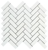 Thassos White Herringbone 1 X 3 Marmormosaik   – Kitchen backsplash