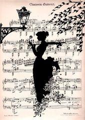 LOVE SONG music retro 30 Kunstdruck Poster Wanddeko Illustration Romantik Melodie Notenblatt