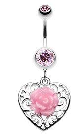 Glitzernde Rose und dekorativer Herz-Bauchnabel-Ring #BellyRing #Flower #Rose …   – Piercing's ❤