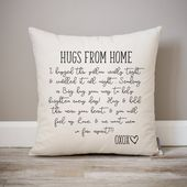 Hugs From Home Pillow | Dorm Decor | Going Away Gift | Gift for Son | Gift for Daughter | College Dorm Gift | Dorm Pillow | Get Well Soon |