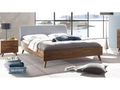Walnut bed solid 180×220 cm with padded headboard – Dorota – solid wood bed