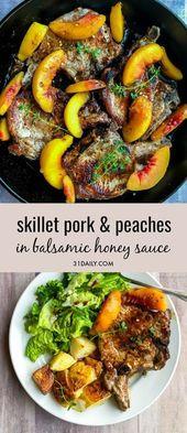 Côtelettes de porc poêlées et pêches avec sauce au balsamique et au miel  #b…