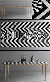 Herringbone marble table by Bethan Gray