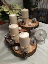 🎄 Weihnachtsdeko mit Holzstämmen … – #deko #Weihnachten #homed …   – Basteln