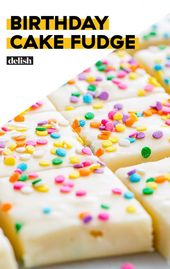 Funfetti-topped fudge is the most fun way to celebrate a birthday. #birthday #ca…