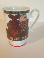 Vintage Royal Crown Zodiac Pisces Pedestal Coffee Tea Cup Smug Mug S771 Royalcrown Coffeebeanlogo Best Coffee Mugs Mugs Coffee Bean Logo