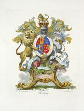 Italian 17th C heraldic achievement escutcheon E original antique print - COAT of ARMS CRESTS heraldry engraving family shield