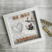 Wedding Frame, Anniversary Gift, Wedding Present, Personalised Wedding Gift, Mr And Mrs Gift, Gifts For Couples, Scrabble Art, Newlywed Gift