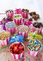 Candy bar mit früchten, naschi, der Torte, kleine…