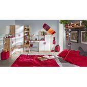 Kinderbett / Jugendbett Hermann 01 inkl. Lattenrost und graue Kissen, Farbe: Weiß gebleicht / Braun
