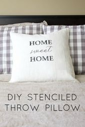 Simple DIY Stenciled Throw Pillow