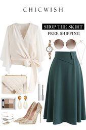 Continuez à vous aimer jupe longue trapèze   – Formal outfits☆