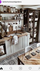 Küche Ideen Einrichtung Landhaus mit Holz, weiß, Deko