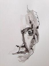 tuschezeichnung aquarell artfigurative artmale portraitOriginal fine wall artpen a …