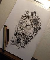 Zeichnung eines Löwen mit einer Blume   – Tattoos – #Blume #einer #eines #Löwe… – Piercing Ideen